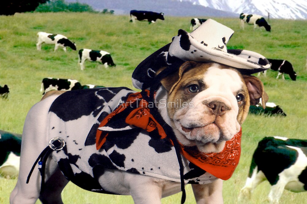 """""""Cow Dog"""" - An English Bulldog wants to be a Cow Dog. by ArtThatSmiles"""