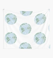 Protect Earth - Blue Green Words for Earth Wall Tapestry