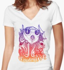 Cthulhu -Corporate Madness- cat version 2 Women's Fitted V-Neck T-Shirt