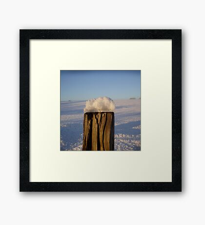 Post With Snow Framed Print