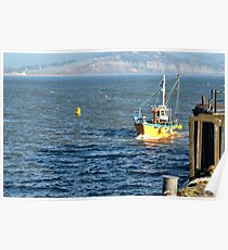 Fishing Boat Coming Into Lyme Harbour Poster
