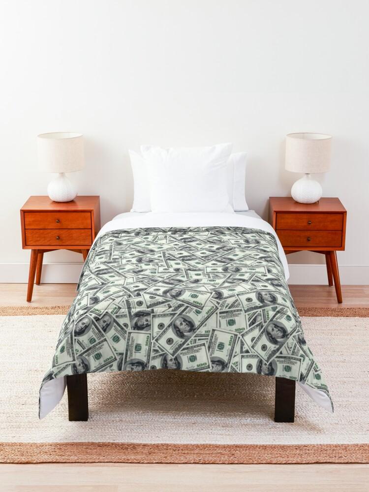 Alternate view of Giant money background 100 dollar bills Comforter