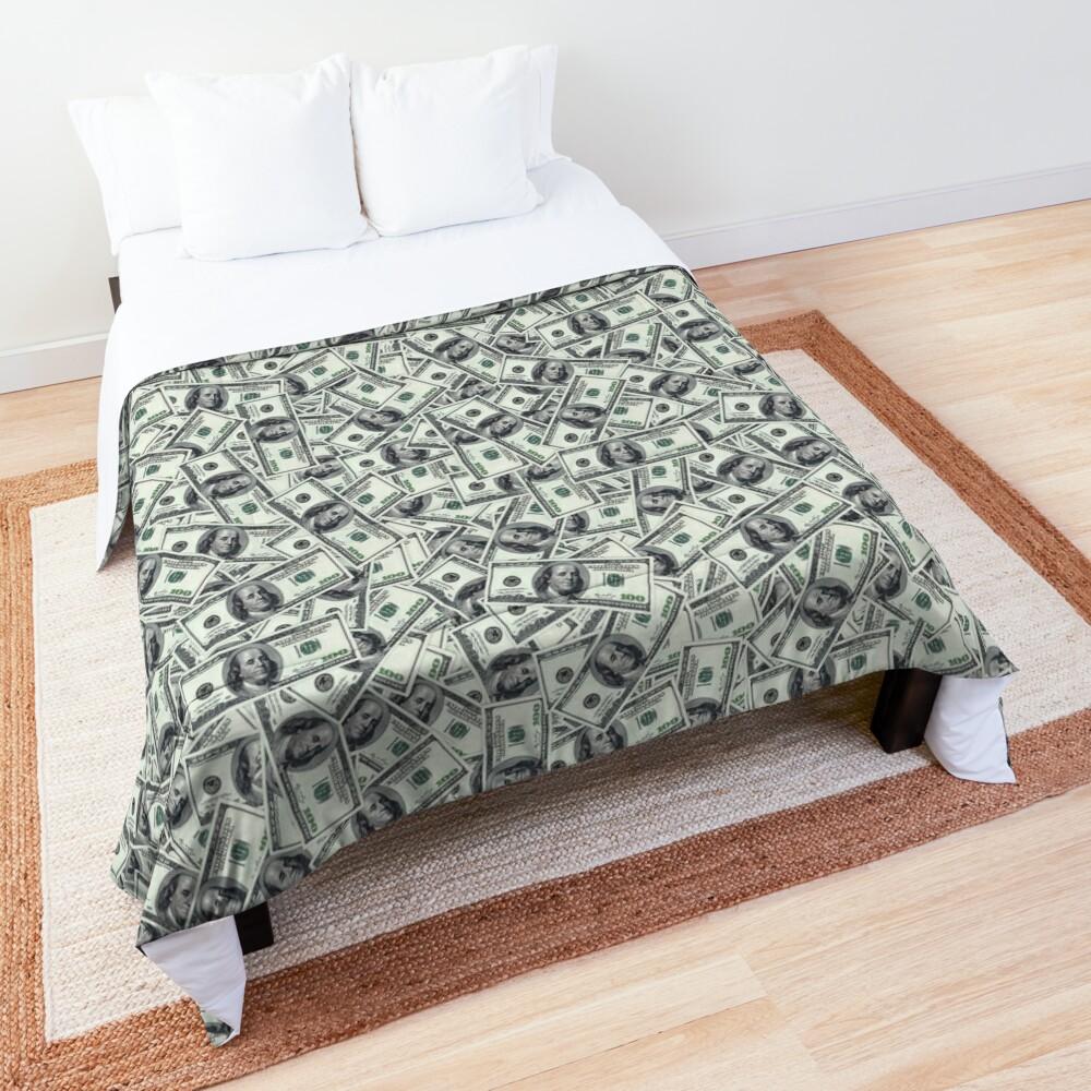 Giant money background 100 dollar bills Comforter