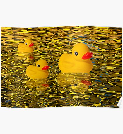 """""""Afternoon Delight"""" - Rubber Duckies Floating into the Sunset Poster"""