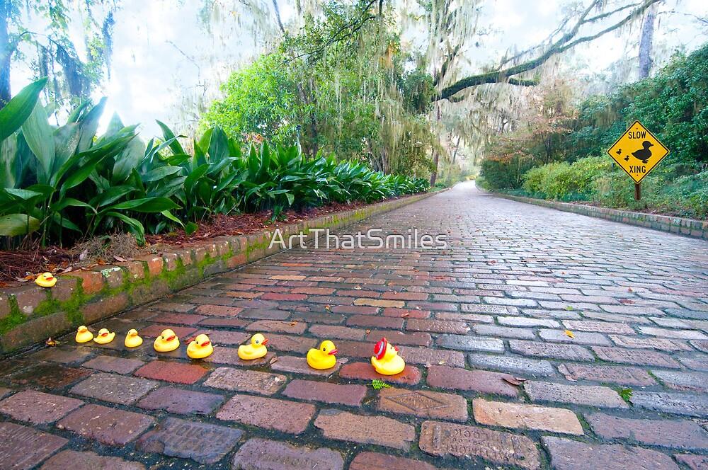 """""""Duck Crossing"""" - Rubber ducks cross road by ArtThatSmiles"""