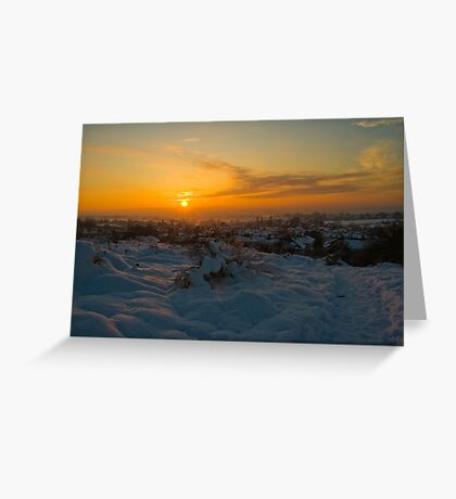 Sunsetting over the Village Greeting Card