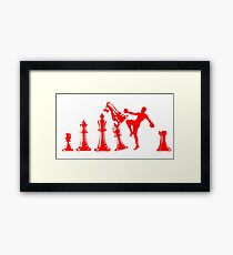 Kickboxing Chess Knee Red Framed Print