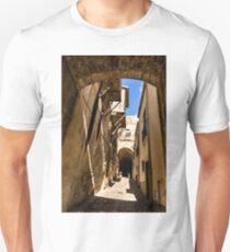 Sharp Shadows Passageway - Old Town Noto, Sicily, Italy Unisex T-Shirt
