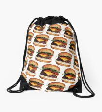 Cheeseburger Pattern Drawstring Bag