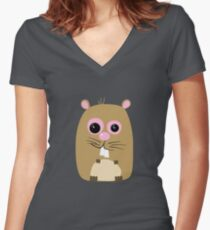 Cartoon Hamster Women's Fitted V-Neck T-Shirt