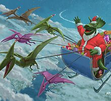 christmas dinosaur santa ride by martyee