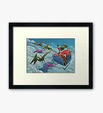 christmas dinosaur santa ride Framed Print