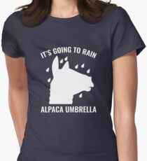Alpaca Umbrella Womens Fitted T-Shirt