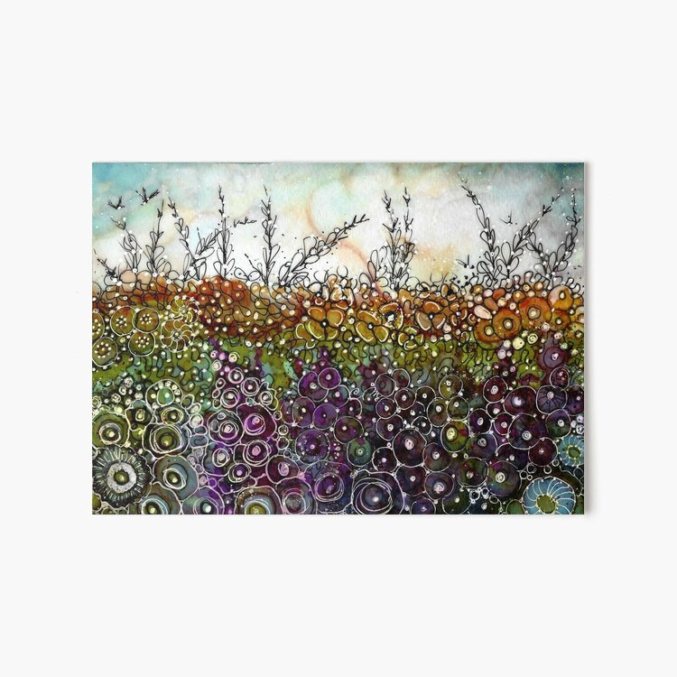I Dream Flowers - Original Alcohol Ink Art Board Print