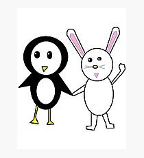 Bunny and Penguin Photographic Print