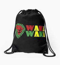 Red lion green mane waka waka geek funny nerd Drawstring Bag