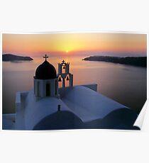 Golden Santorini Poster