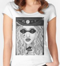 Steam hippy black and white Women's Fitted Scoop T-Shirt