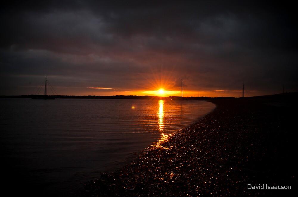 Sunset on West Mersea beach, Essex by David Isaacson