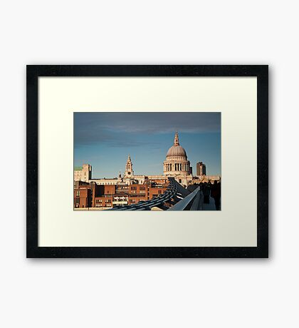 St Paul's Cathedral from the Millennium Bridge, London, UK. Framed Print