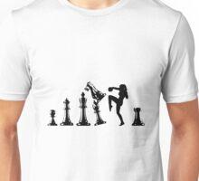 Female Kickboxing Knee Black Chess  Unisex T-Shirt