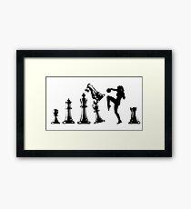 Female Kickboxing Knee Black Chess  Framed Print