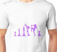 Female Kickboxing Knee Purple Chess  Unisex T-Shirt