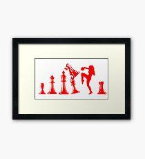 Female Kickboxing Knee Red Chess  Framed Print