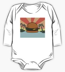 """Food Paradise"" Hamburger Burger Foodie Food Sun Beach Water Palm Trees One Piece - Long Sleeve"