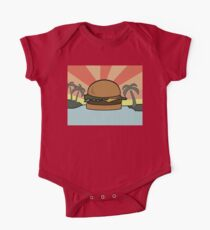 """Food Paradise"" Hamburger Burger Foodie Food Sun Beach Water Palm Trees One Piece - Short Sleeve"