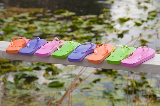 """""""On The Edge"""" - Flip Flops all lined up by ArtThatSmiles"""