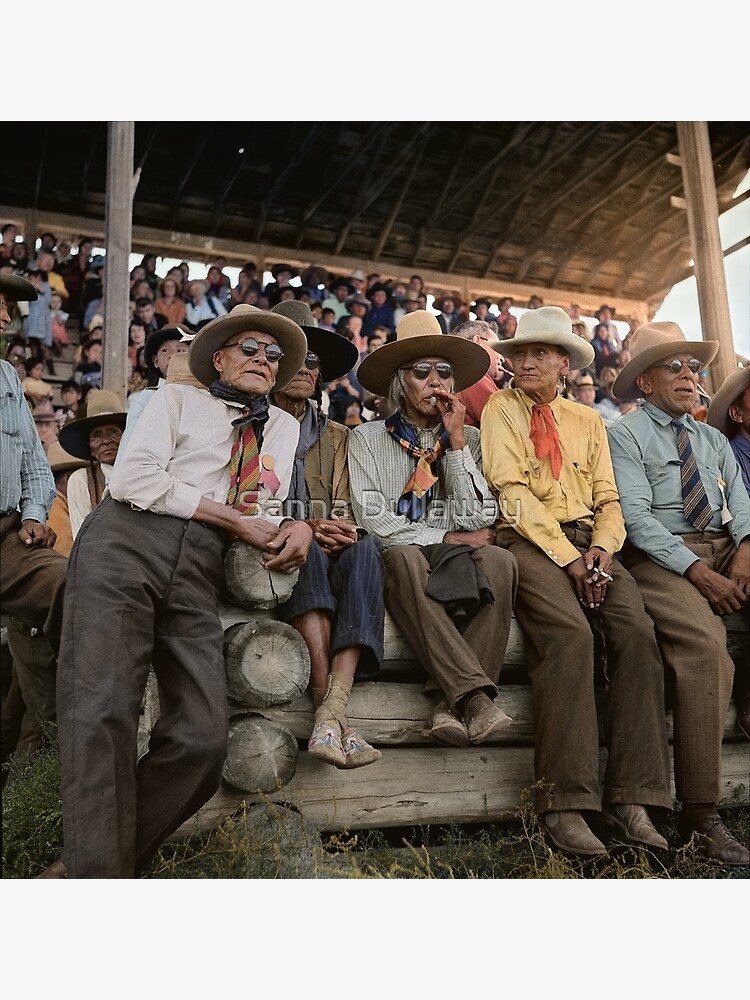 Crow Native Americans watching the rodeo at Crow fair in Montana, 1941 by SannaDullaway