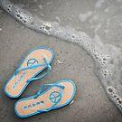 """Changing Tide"" - flip flops at beach by ArtThatSmiles"