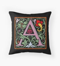 Letter A | A WILLIAM MORRIS ENGLISH CALIGRAPHY FONT Alphabet | Decorative initial A coloured Throw Pillow