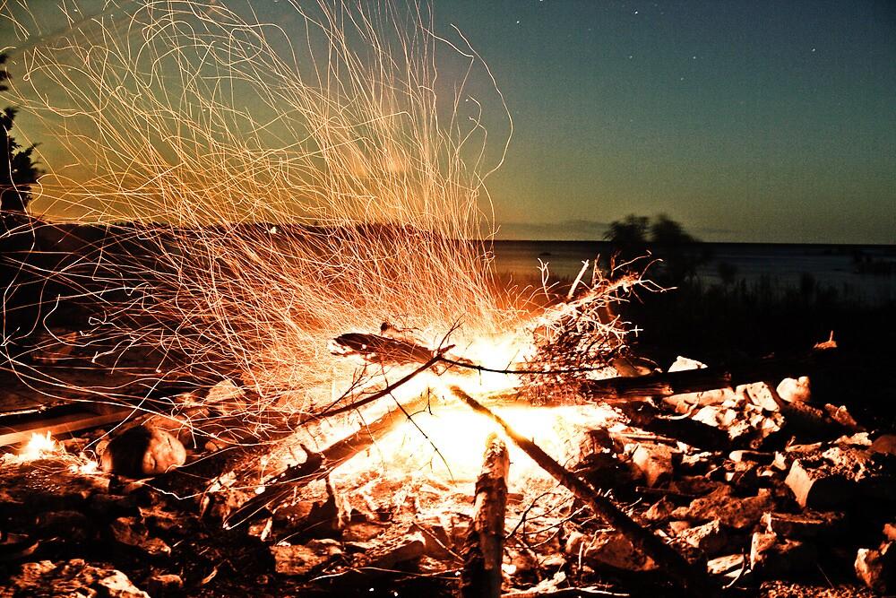 Campfire - Long exposure - Lake Huron by Brendan Rice
