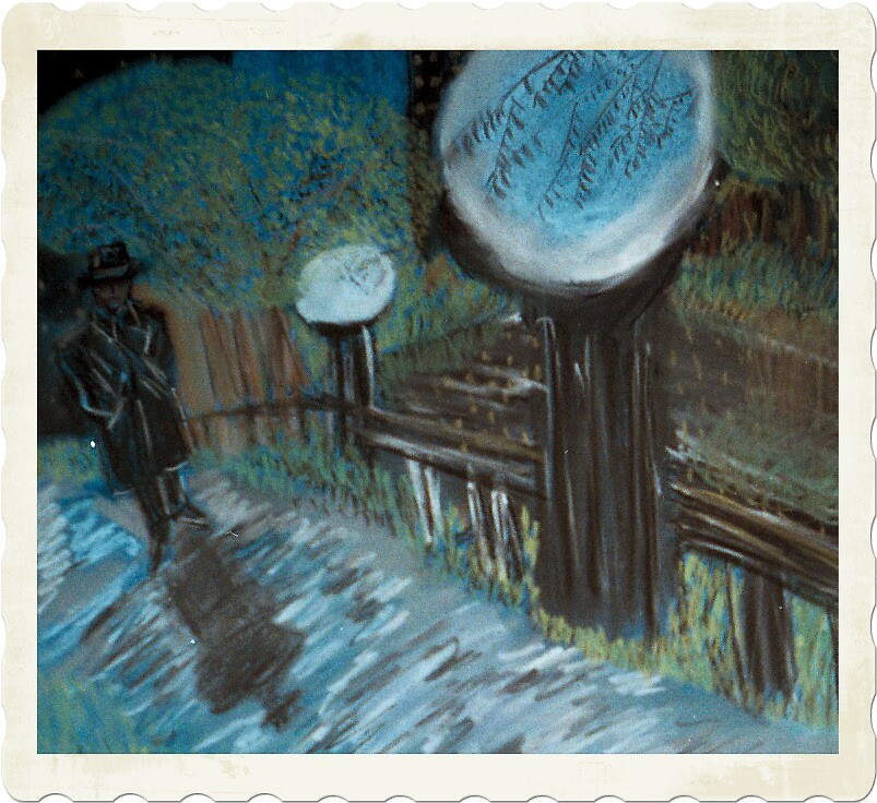 rainy night walk home by larry carter