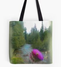 Thistle with Bee by Mountain Stream Tote Bag