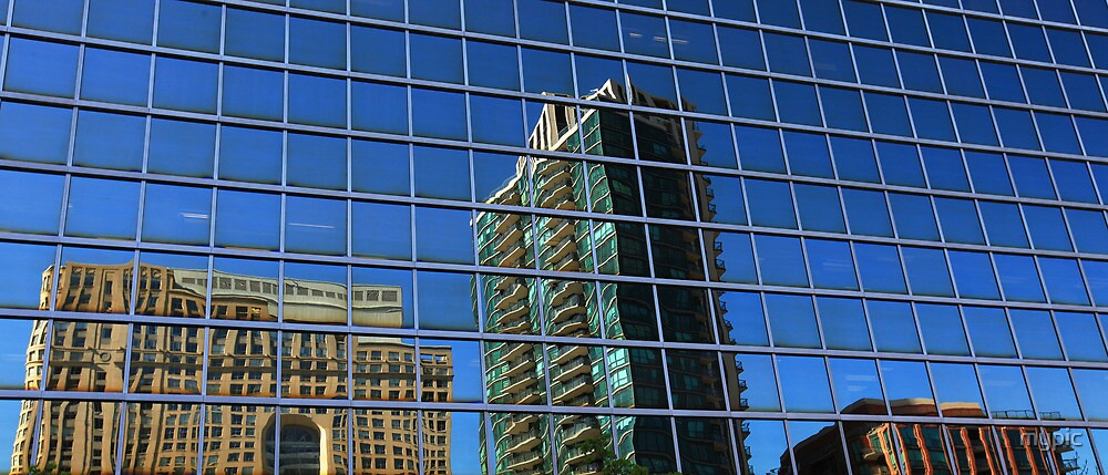 Shaky town: reflections, downtown Toronto by mypic