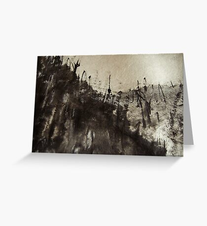 high up mountain forest .... snowy sky  Greeting Card