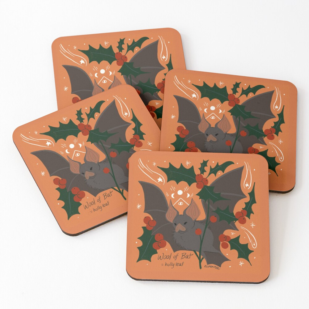 Witch's Brew: Wool of Bat Coasters (Set of 4)