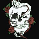Skull with Snake and Roses by StickaBomb
