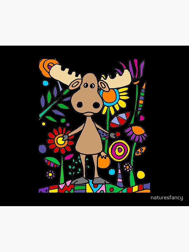 Cute Moose in Flower Garden Art by naturesfancy