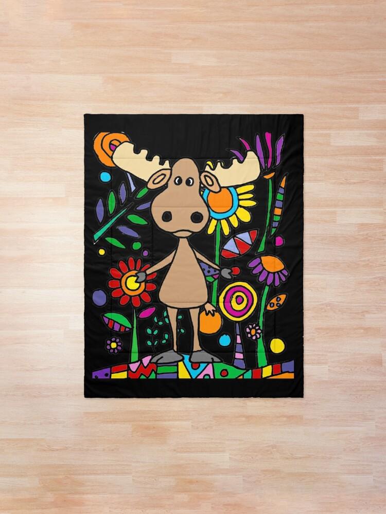 Alternate view of Cute Moose in Flower Garden Art Comforter