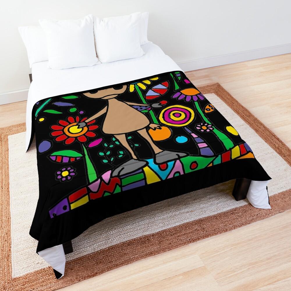 Cute Moose in Flower Garden Art Comforter