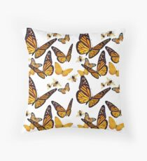 Vintage Yellow Butterfly Monarch Throw Pillow