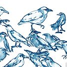 Watercolor Crows in Blue by Kendra Shedenhelm