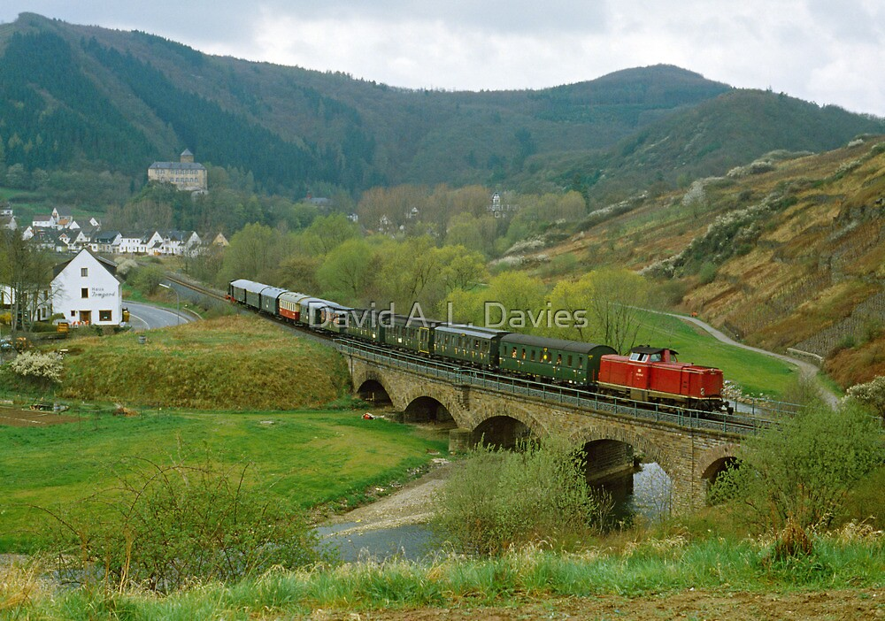 Historical train in the Ahr Valley, Germany, 1980s by David A. L. Davies