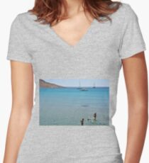 Swimming the dog Women's Fitted V-Neck T-Shirt