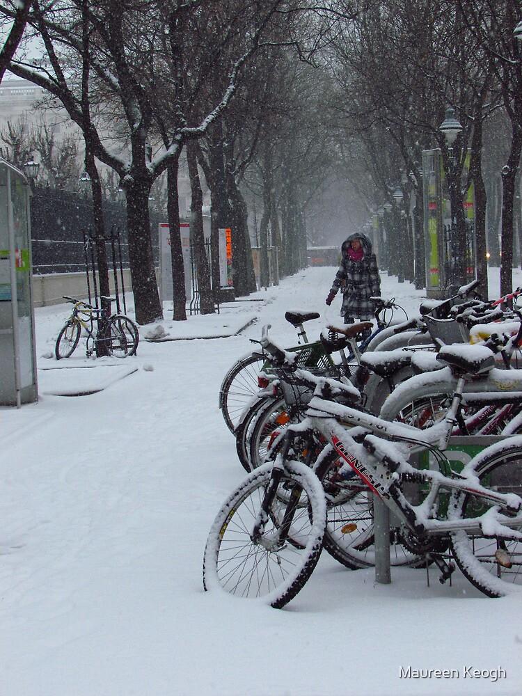 Vienna - Bikes in the snow by Maureen Keogh