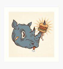 Rhino Burger YUM! Art Print
